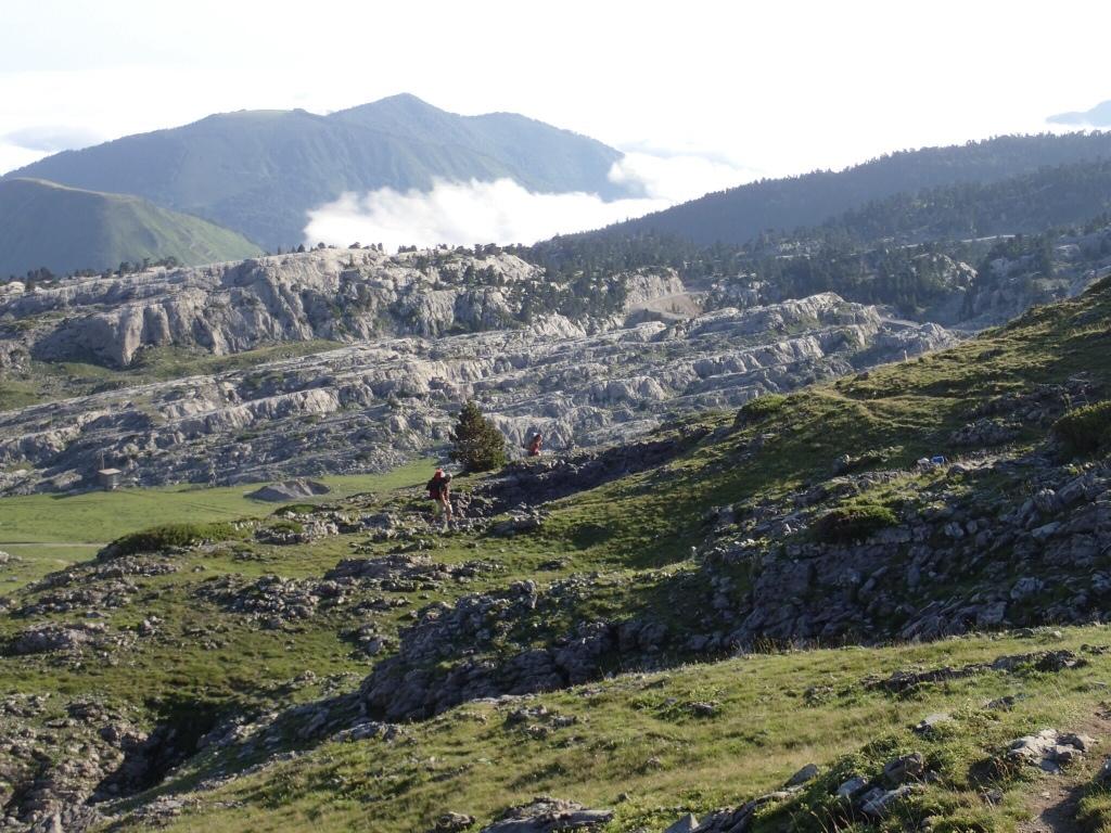 Hiking in rocky landscape.