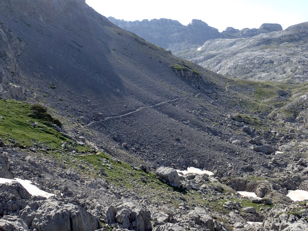 Trail across a scree slope.