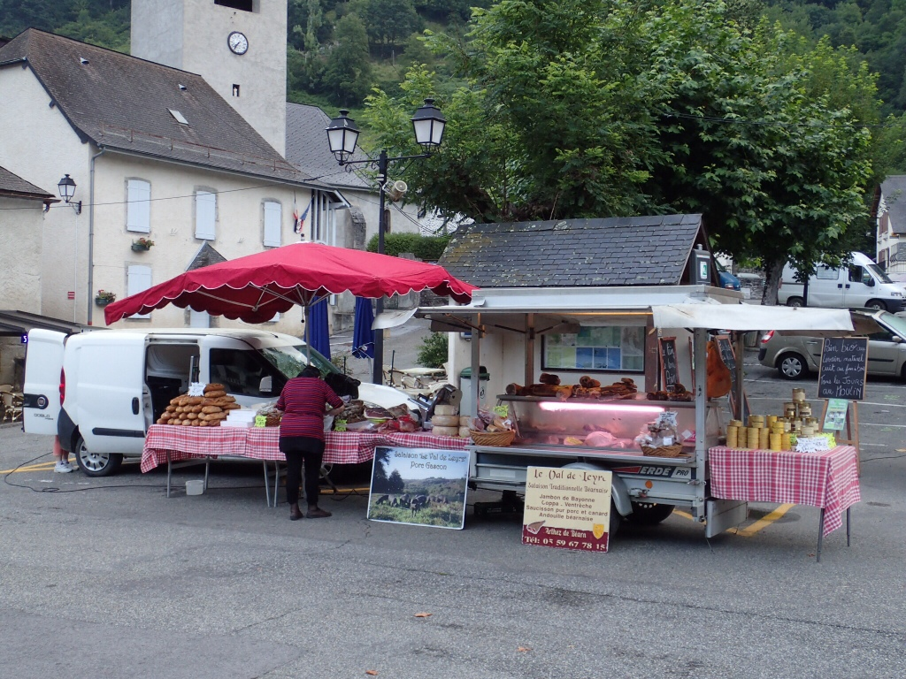Setting up for the market in the town square.