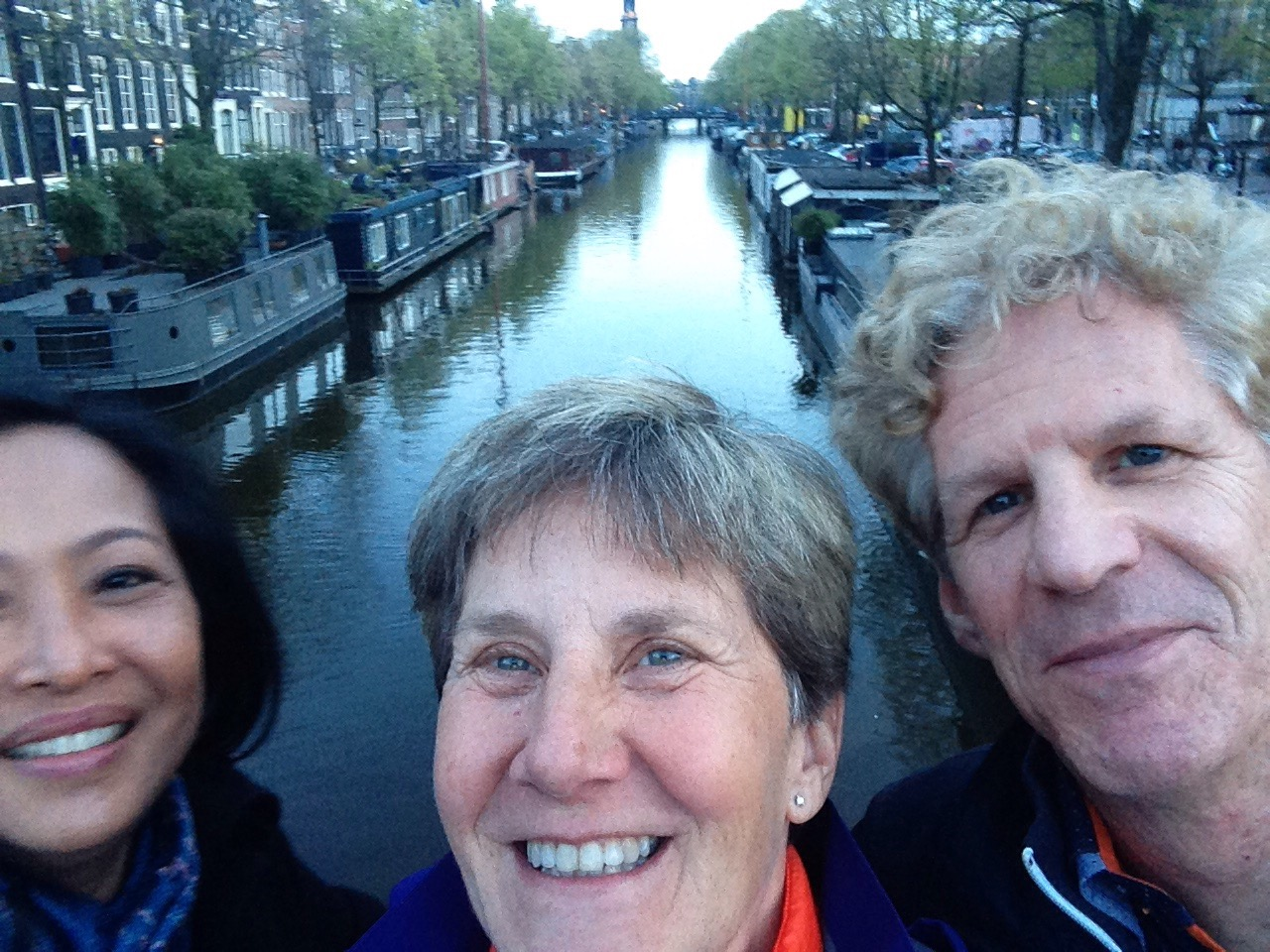 Sunset selfie with my brother and sister-in-law and Westertoren in background