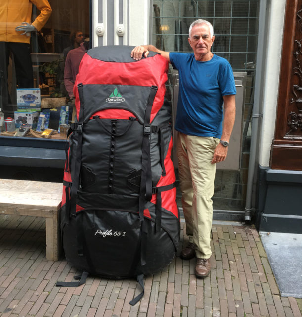 Backpack seen outside a gear store in Deventer, Netherlands. © Roy Smyth